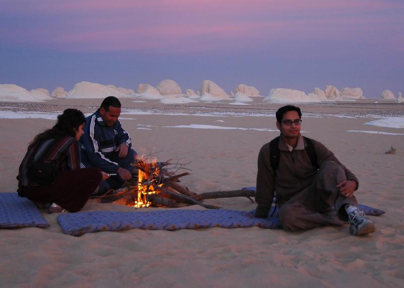 campfire in the white desert