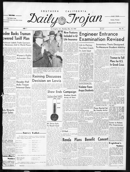 Daily Trojan, Vol. 38, No. 91, March 10, 1947