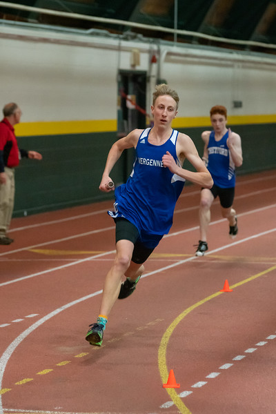 Junior Gabe Praamsma runs the 4x400 relay. VUHS won the event with a time of 3:45.11. Vermont Division II Indoor Track State Championships - UVM Gutterson Field House - 2/16/2020