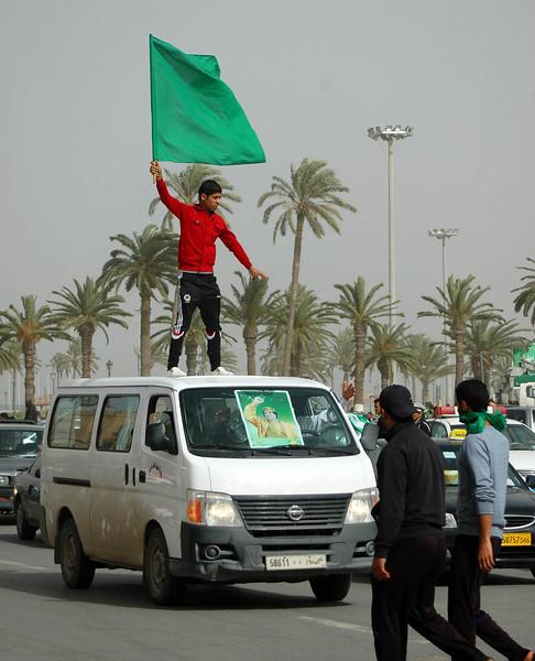 Tripoli: pro-Qaddafi rally, Green Square, February 18, 2011