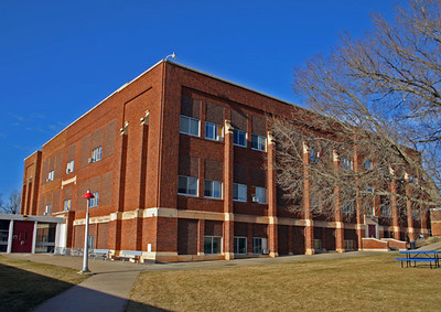 Here's a contemporary view of the building, which is now the site of East Elementary School.  The days seem numbered for the venerable structure, since the school board has plans to build a new elementary school on the north edge of Spearfish.  It would replace East Elementary.  It's always dangerous to mention names of people linked to the history of the school.  Names like Joe Rigg, Ben Burris, Nina Wolspath, Charlie McClurg, Dave Clark, Martin Thompson, J. Howard Kramer, and Joe Fassbender are but a few of the names mentioned during Paul's talk.  Please let us know if we've not spelled these names correctly!  Undoubtedly YOU have many names that could be added to the list.