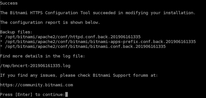 Success with The Bitnami HTTPS Configuration Tool