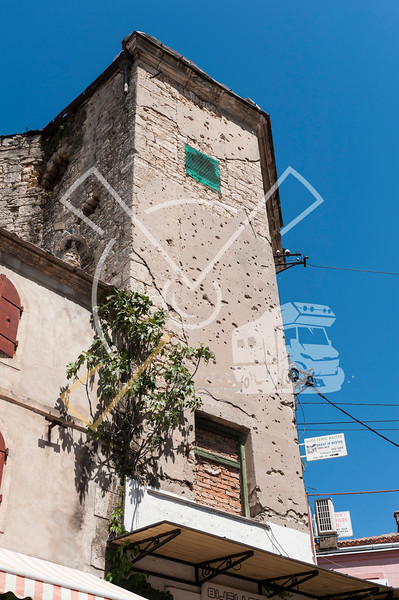 Bullet holes in Mostar buildings