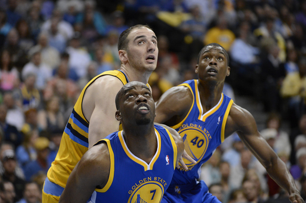 . DENVER, CO. - APRIL 20: Denver Nuggets center Kosta Koufos (41) competes for a rebound with Golden State Warriors power forward Carl Landry (7) and Golden State Warriors small forward Harrison Barnes (40) in the second quarter. The Denver Nuggets took on the Golden State Warriors in Game 1 of the Western Conference First Round Series at the Pepsi Center in Denver, Colo. on April 20, 2013. (Photo by John Leyba/The Denver Post)