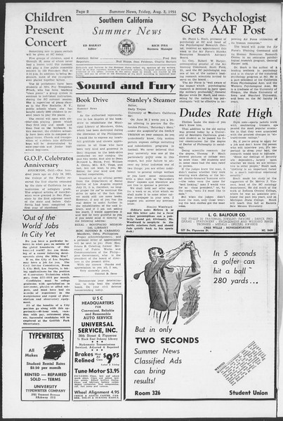 Summer News, Vol. 6, No. 12, August 03, 1951