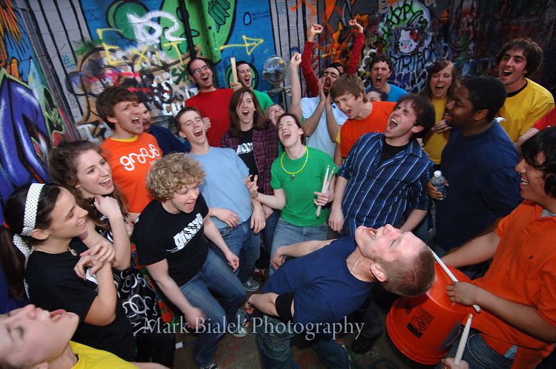 "Members of the group ""Groove,"" a high energy percussion group, get pumped up before performing at the Michigan Theatre in Ann Arbor on April 11, 2008.  (Photo by Mark Bialek)"