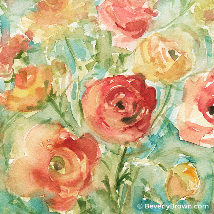 Red, Orange & Yellow Ranunculus Floral Watercolor Painting by Artist Beverly Brown | Fine Art Prints for Sale from $30 | www.beverlybrown.com