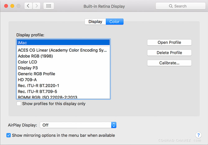 Default profile for the Retina iMac (Late 2015)