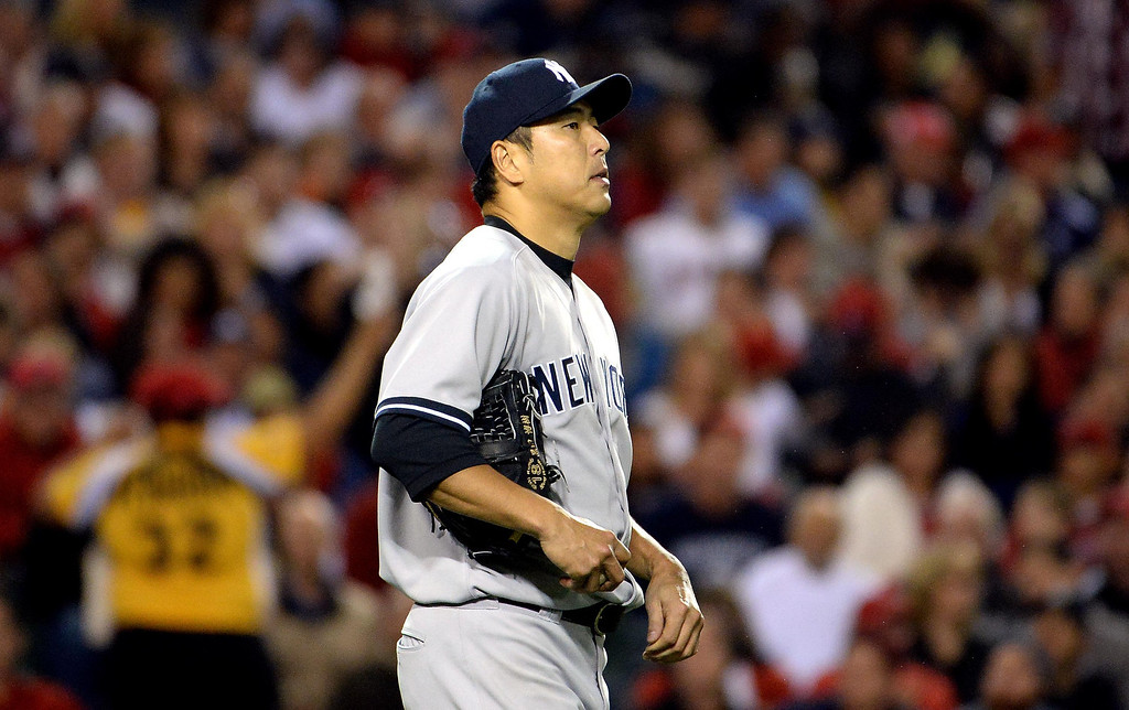 . New York Yankees starting pitcher Hiroki Kuroda looks toward the scoreboard after giving-up two runs in the third inning of a baseball game against the Los Angeles Angels at Anaheim Stadium in Anaheim, Calif., on Tuesday, May 6, 2014.  (Keith Birmingham Pasadena Star-News)