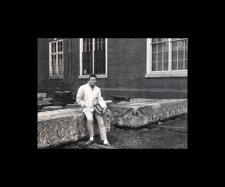 Jim on Louis Sullivan Stones behind Archi Building - 1964.jpg