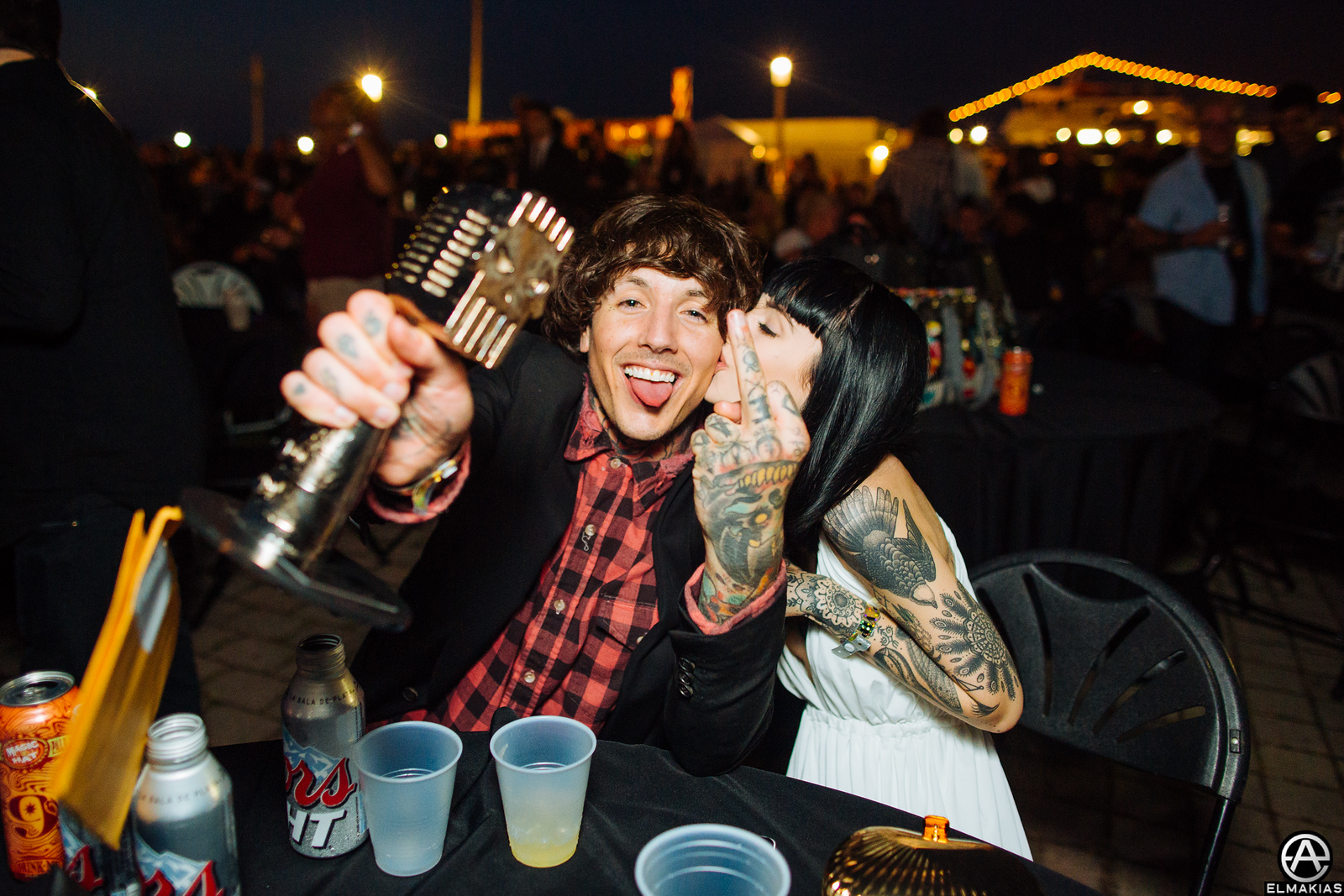 Oli and Hannah celebrating