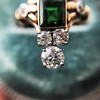 1.01ctw Victorian Emerald (syn) and Diamond Dinner Ring 19