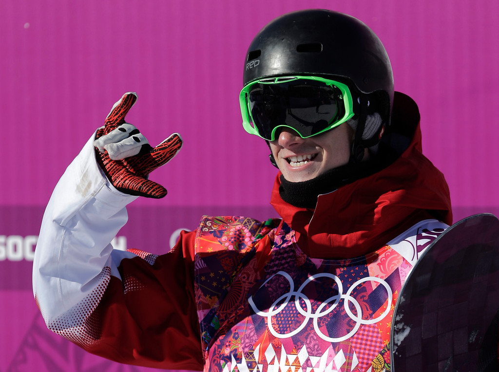 . Canada\'s Maxence Parrot reacts after a run during the men\'s snowboard slopestyle qualifying at the Rosa Khutor Extreme Park ahead of the 2014 Winter Olympics, Thursday, Feb. 6, 2014, in Krasnaya Polyana, Russia.  (AP Photo/Andy Wong)