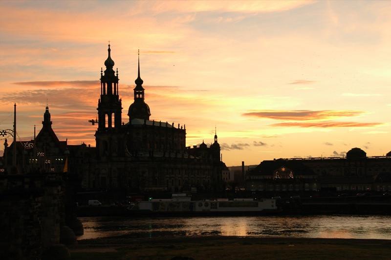 Catholic Church and Royal Palace at Sunset - Dresden, Germany