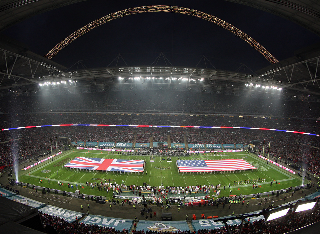 . A general view of Wembley Stadium ahead of the NFL International Series game between San Francisco 49ers and Jacksonville Jaguars at Wembley Stadium on October 27, 2013 in London, England. (Photo by Nicky Hayes/NFL UK - Pool /Getty Images)