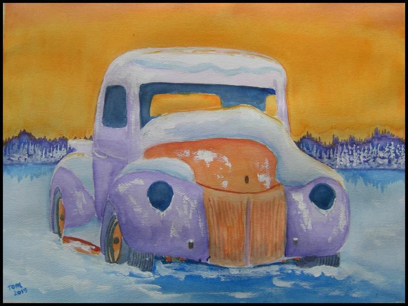 Frozen Pickup, 9x12, watercolor, april 30, 2015.