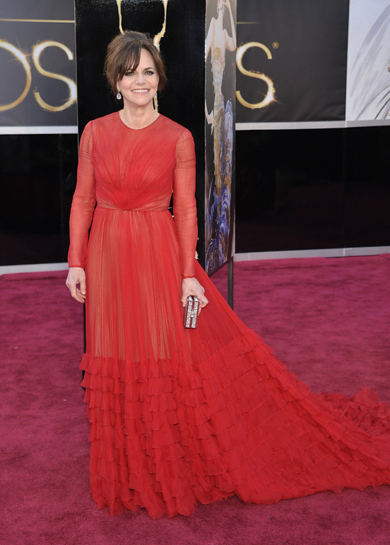. Actress Sally Field arrives at the Oscars at the Dolby Theatre on Sunday Feb. 24, 2013, in Los Angeles. (Photo by John Shearer/Invision/AP)