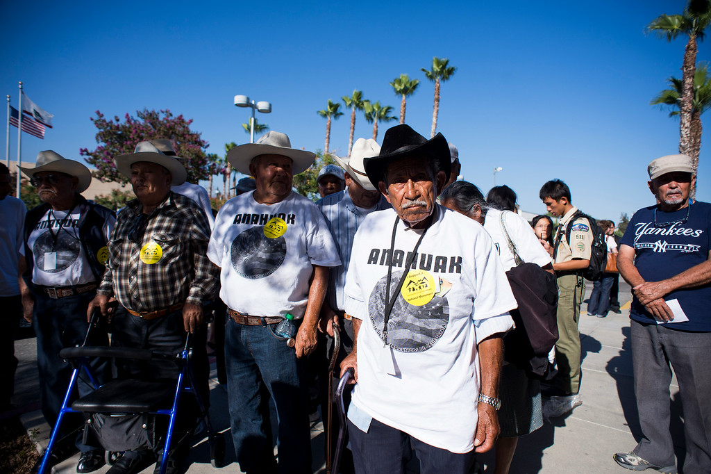 . Bardomiano Garcia, of Los Angeles, and fellow Braceros of the Anahuaks are part of an overflow crowd trying to attend a San Gabriel Mountains meeting Tuesday night, August 26, 2014 at Baldwin Park Performing Arts Center. Rep. Judy Chu has a bill to make the area a national recreation area but has since asked President Obama to make the mountains a national monument. (Photo by Sarah Reingewirtz/Pasadena Star-News)