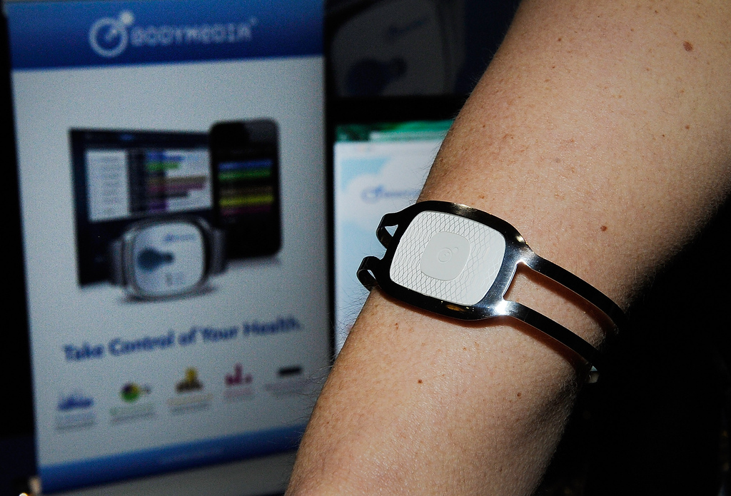 . A Body Media arm band is on display during a press event at the Mandalay Bay Convention Center for the 2013 International CES on January 6, 2013 in Las Vegas, Nevada. The arm band is designed to record your physical activities and will be available this summer. (Photo by David Becker/Getty Images)