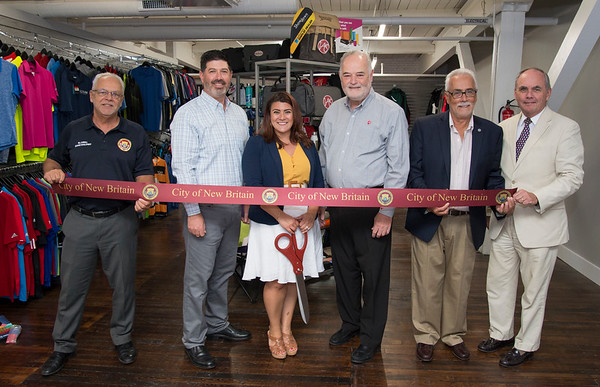 08/28/19 Wesley Bunnell | Staff A ribbon cutting was held on Wednesday August 28, 2019 for Victor Advertising Service which relocated its business to New Britain. Economic Development Director Bill Carroll, Partner Scott Margolis, Mayor Erin Stewart, Partner Jerry Margolis, Aderman Danny Salerno and chamber of commerce President William D. Moore.