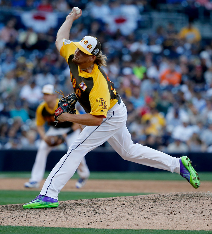 . U.S. Team pitcher Ryne Stanek, of the Tampa Bay Rays,  throws against the World Team during the ninth inning of the All-Star Futures baseball game, Sunday, July 10, 2016, in San Diego. (AP Photo/Lenny Ignelzi)