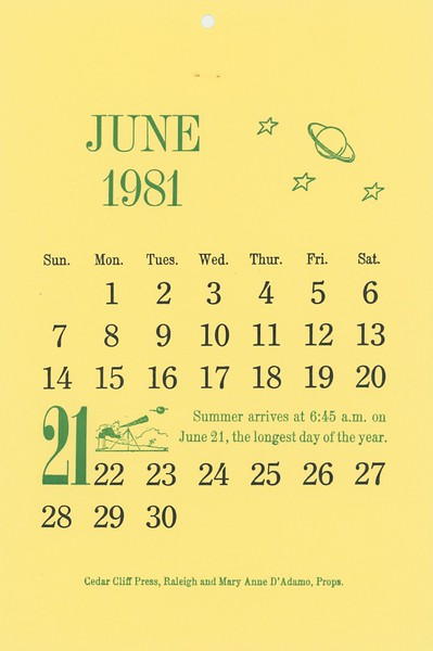 June, 1981, Cedar Cliff Press