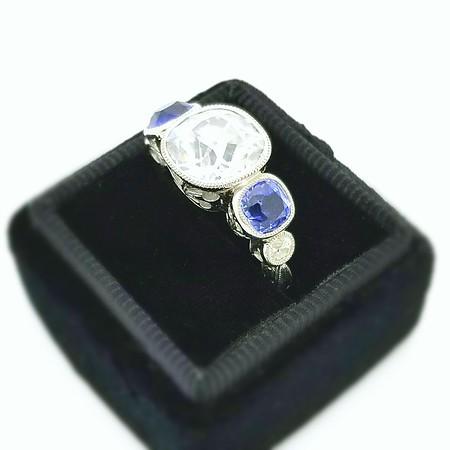 9mm Antique Cushion Moissanite in Singlestone 5-Stone Ring