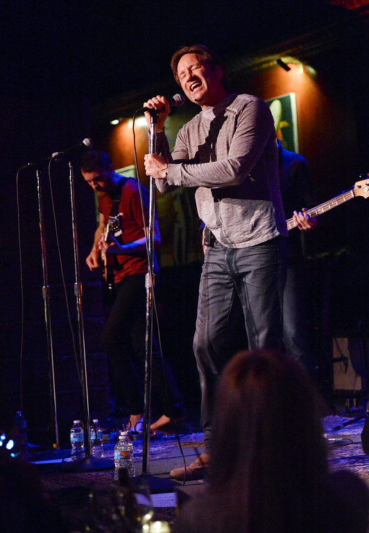 """. Actor and singer David Duchovny performs at The Cutting Room, in support of the release of his debut album \""""Hell Or Highwater\"""", on Tuesday, May 12, 2015, in New York. (Photo by Evan Agostini/Invision/AP)"""