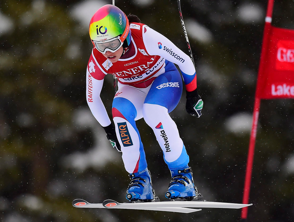 . Dominique Gisin, of Switzerland, races down the course during the women\'s World Cup downhill ski race in Lake Louise, Alberta, Saturday, Dec. 6, 2014. (AP Photo/The Canadian Press, Frank Gunn)