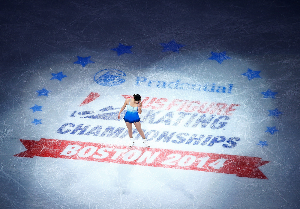 . Marai Nagasu becomes emotional as she takes the ice for the Smucker\'s Skating Spectacular following the Prudential U.S. Figure Skating Championships at TD Garden on January 12, 2014 in Boston, Massachusetts. (Photo by Jared Wickerham/Getty Images)