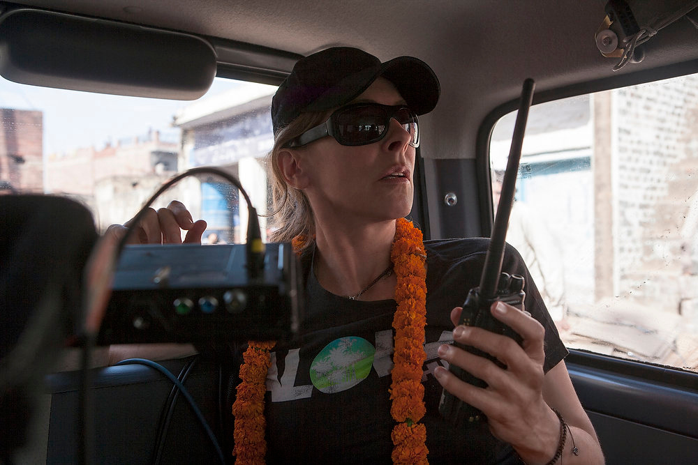 Description of . Director/Producer Kathryn Bigelow on the set of