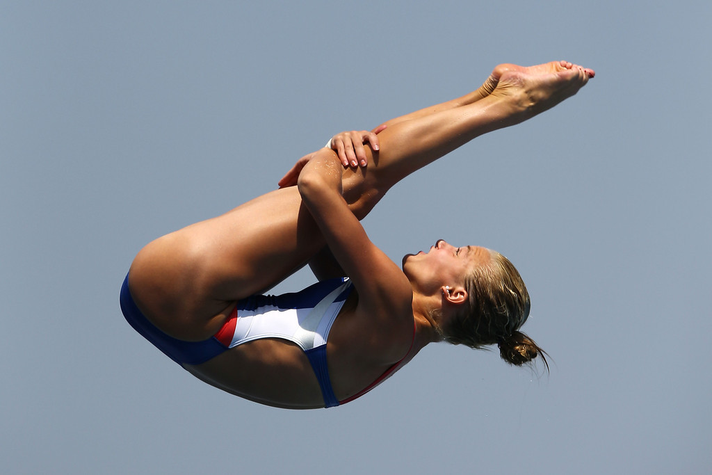 . Samantha Pickens of USA competes in the Women\'s 1m Springboard Diving preliminary round on day two of the 15th FINA World Championships at Piscina Municipal de Montjuic on July 21, 2013 in Barcelona, Spain.  (Photo by Al Bello/Getty Images)