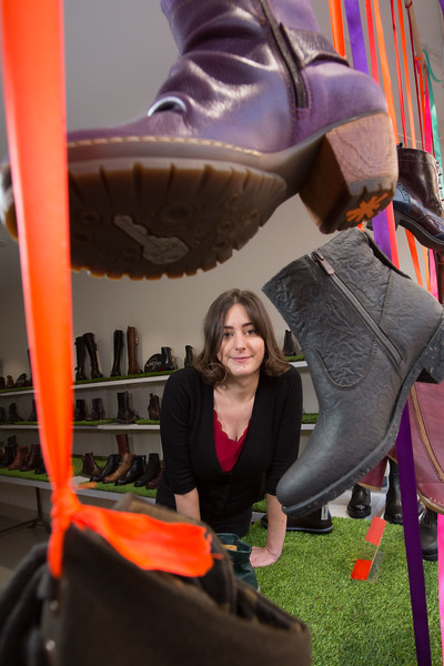 Holly Breen from WALK Shoes, who are celebrating having scooped three awards, including the top prize at the international ART Shoes window display competition, a national Irish Domain Registry (IEDR) award, and Cork's 'Most Environmentally Friendly Business' award from Junior Chamber Ireland. Pic Darragh Kane.