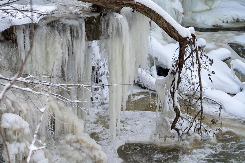 Great Falls of Tinkers Creek frozen in winter
