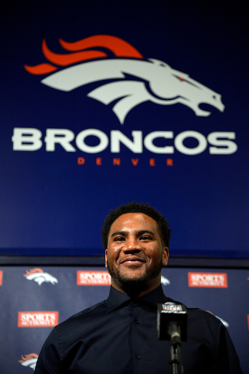 . Denver Broncos T.J. Ward addresses the media during a press conference March 12, 2014 at Dove Valley. The Broncos have agreed to terms with former Cleveland Browns strong safety T.J. Ward, who is coming off a Pro Bowl season. Ward will sign a four-year contract for $23 million � with $14 million guaranteed. (Photo by John Leyba/The Denver Post)