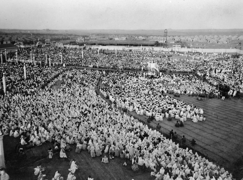 . Crowds gather to hear Gandhi speak next to the Sabarmati River, c. 1930.  Photo from a period album collected by AP reporter James A. Mills, while Mills was covering Mahatma Gandhi and his followers. (AP Photo/James A. Mills collection)