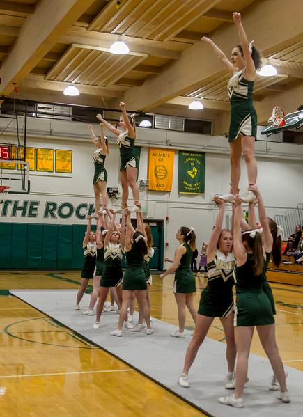 Set one: Winter Cheer and Crowd at Boys Varsity Basketball v Seattle Christian - Seniors Night 2018