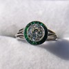 1.30ctw Old European Cut Diamond Emerald Target Ring 22