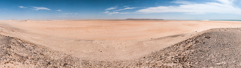 Panorama of desert in Dakhla, Western Sahara