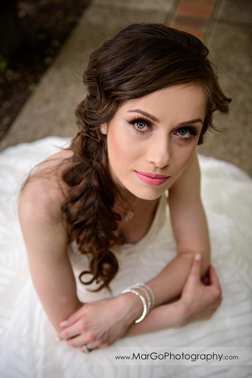 high angle portrait of bride at Saratoga Foothill Club