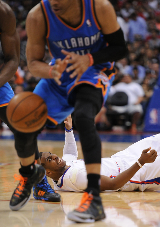 . Clippers#3 Chris Paul reacts to loosing the ball to Thunder#0 Russell Westbrook in the 4th quarter. The Oklahoma City Thunder defeated the Clippers 107-101 in a regular season game at Staples Center in Los Angeles, CA. 4/9/2014(Photo by John McCoy / Los Angeles Daily News)