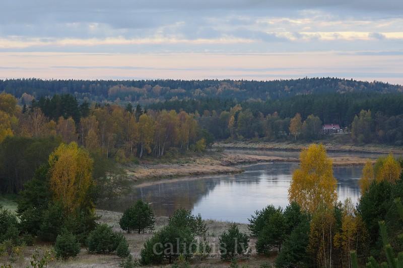 Autumn morning at river Daugava near Belarus border, Latvia