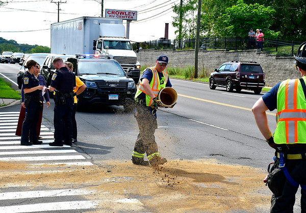 8/22/2019 Mike Orazzi | Staff The scene of a three-car crash at the intersection of the Pine and Hemlock Streets in Bristol on Thursday. Two were transported from the scene.
