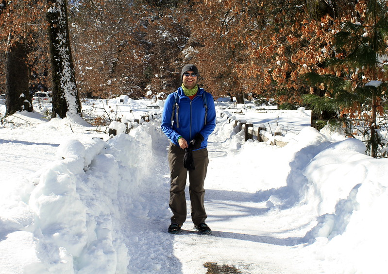 Level of snow and Graham for scale