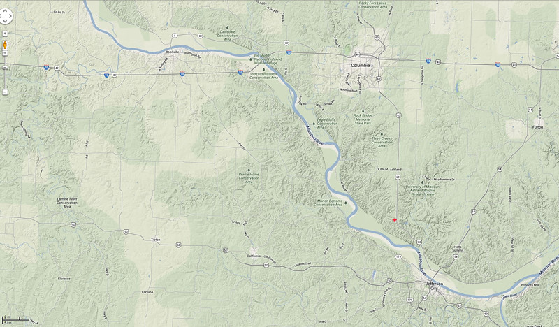 Terrain features of the general area.  Missouri river is the major feature.  This shows most of the area as forested, though there are a great many small open fields scattered throughout, as well as houses and smaller towns.