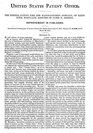 20954 RE 1159- Improvement in Firearms, assigned to the Merrill Patent Firearms Mfg Co (March 26, 1861)