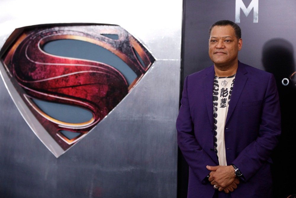 """. Cast member Lawrence Fishburne arrives for the world premiere of the film \""""Man of Steel\"""" in New York June 10, 2013. REUTERS/Lucas Jackson"""