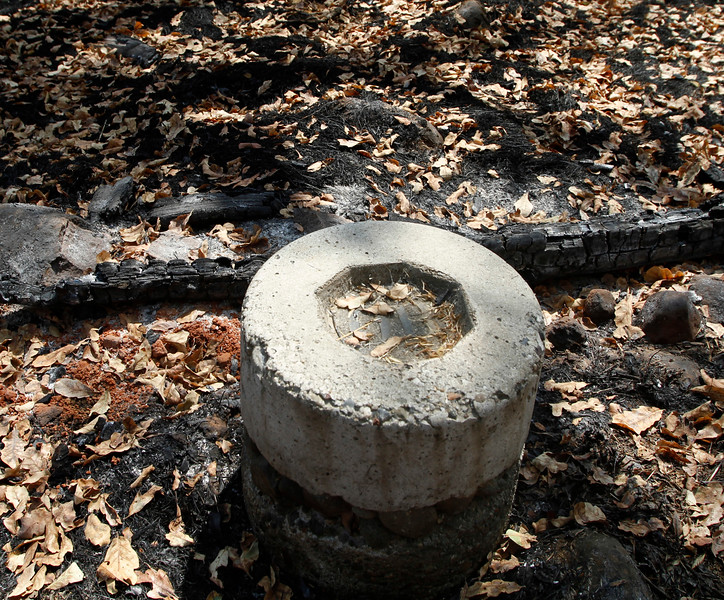 Out-of-bounds marker. The Peregrine Point Disc Golf Course was scorched by the Stoney Fire. The charred course is seen Tuesday, Aug. 14, 2018, in Chico, California. (Dan Reidel -- Enterprise-Record)