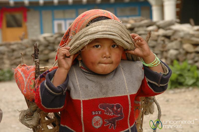 Big Basket for a Small Girl - Annapurna Circuit, Nepal