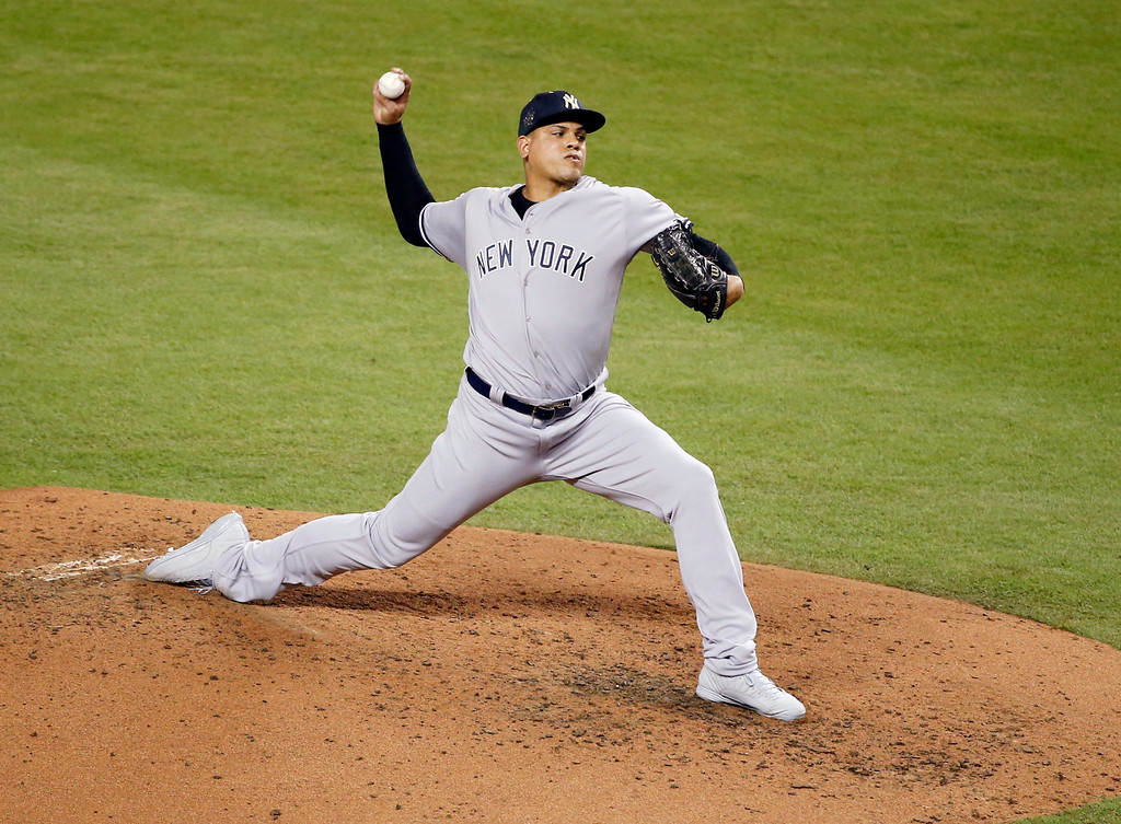 . American League\'s New York Yankees pitcher Dellin Betances (68), delivers a pitch, during the third inning at the MLB baseball All-Star Game, Tuesday, July 11, 2017, in Miami. (AP Photo/Wilfredo Lee)